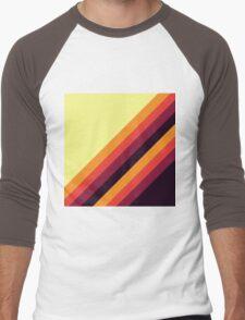 Sunset Palette Stripe Pattern- diagonal Men's Baseball ¾ T-Shirt