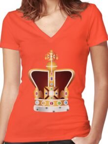 English Coronation Crown Jewels Illustration Women's Fitted V-Neck T-Shirt