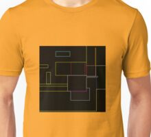 coloured lines, rectangles on the black, abstract Unisex T-Shirt