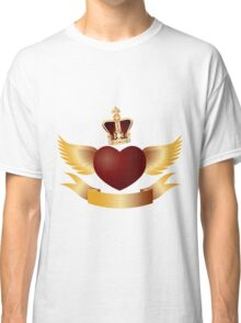 Flying Heart with Crown Jewels Illustration Classic T-Shirt