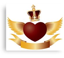 Flying Heart with Crown Jewels Illustration Canvas Print