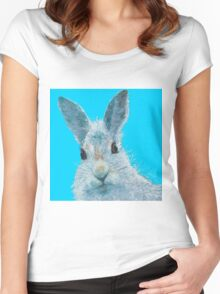 Grey rabbit on blue - Howard Women's Fitted Scoop T-Shirt