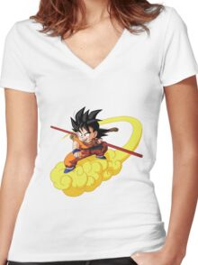 kid goku on nimbus Women's Fitted V-Neck T-Shirt