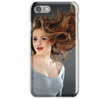 Glamour portrait with flying hair iPhone Case/Skin