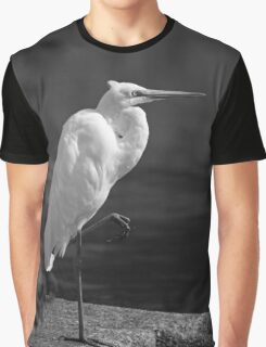Great Egret in Black and White Graphic T-Shirt