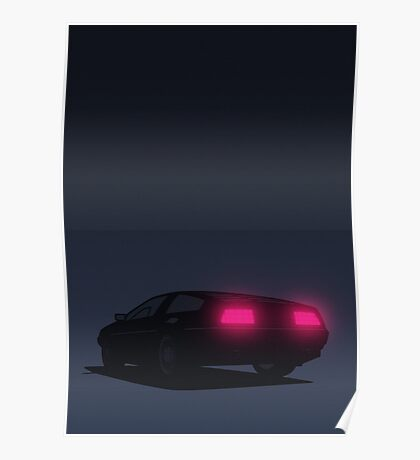 DeLorean tail lights (Blue) Poster