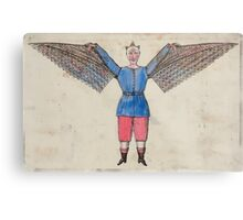 0184 ballooning Humorous portrayal of a man who flies with wings attached to his tunic Metal Print