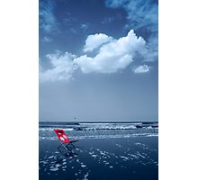 Red beach chair Photographic Print