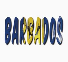 Barbados Word With Flag Texture Kids Tee