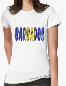 Barbados Word With Flag Texture Womens Fitted T-Shirt