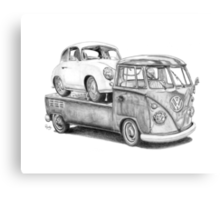 Volkswagen Type 2 Bus Porsche Pencil Drawing Wall Art Print Signed Pictures Canvas Print