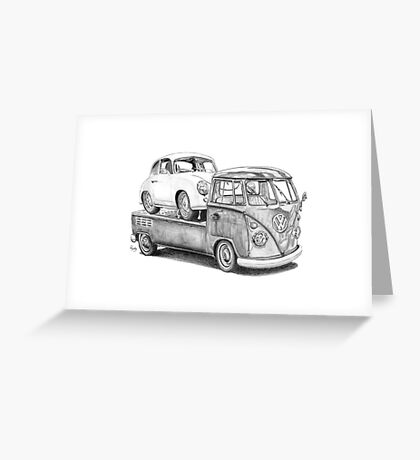 Volkswagen Type 2 Bus Porsche Pencil Drawing Wall Art Print Signed Pictures Greeting Card
