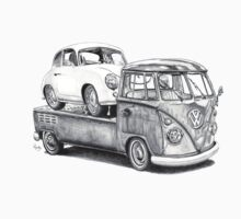 Volkswagen Type 2 Bus Porsche Pencil Drawing Wall Art Print Signed Pictures by roudyb