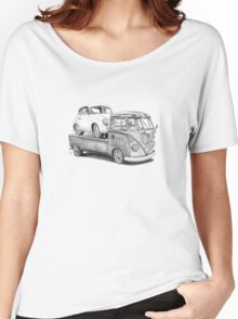 Volkswagen Type 2 Bus Porsche Pencil Drawing Wall Art Print Signed Pictures Women's Relaxed Fit T-Shirt