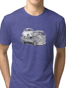 Volkswagen Type 2 Bus Porsche Pencil Drawing Wall Art Print Signed Pictures Tri-blend T-Shirt