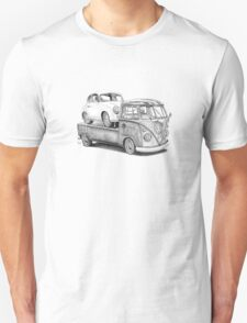 Volkswagen Type 2 Bus Porsche Pencil Drawing Wall Art Print Signed Pictures T-Shirt