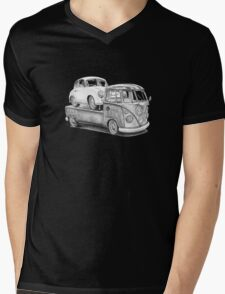Volkswagen Type 2 Bus Porsche Pencil Drawing Wall Art Print Signed Pictures Mens V-Neck T-Shirt