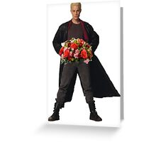 the big bad's back, and hes got flowers! Greeting Card