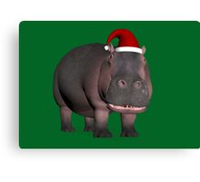 Hippo In Christmas Mood Canvas Print
