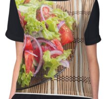 Plate with vegetarian salad with fresh tomatoes, onion and lettuce Chiffon Top