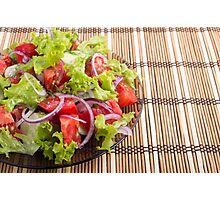 Plate with vegetarian salad with fresh tomatoes, onion and lettuce Photographic Print