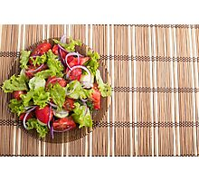 Top view of vegetarian salad from fresh vegetables Photographic Print