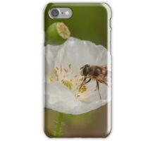 hoverfly on white poppy iPhone Case/Skin