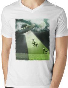 Comical UFO Cow Abduction Mens V-Neck T-Shirt
