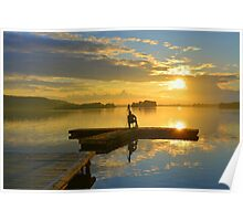 Drifting Fisher Watching Sunset over a Lake Poster