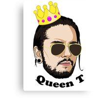 Queen T - Black Text Canvas Print
