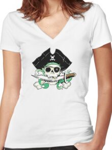 Pirate - One Eyed Willie Women's Fitted V-Neck T-Shirt