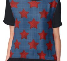 Abstract stars geometric retro seamless pattern denim Chiffon Top