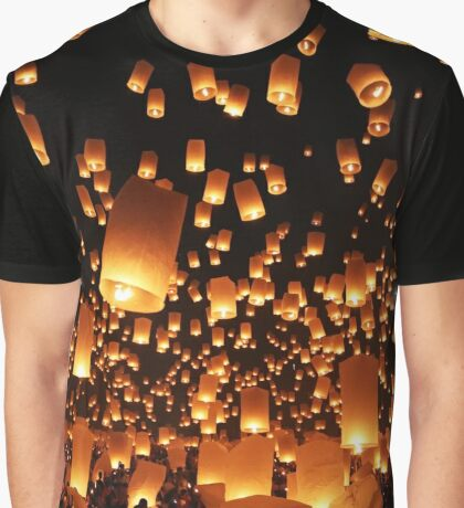 Sky Lanterns at Yee Peng Festival in Chiang Mai, Thailand Graphic T-Shirt