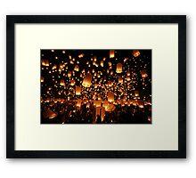 Sky Lanterns at Yee Peng Festival in Chiang Mai, Thailand Framed Print