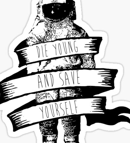 ribbon wrapped astronaut quote Sticker