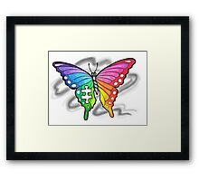 Rainbow Puzzle Butterfly ~ Autism Awareness Design Framed Print