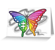 Rainbow Puzzle Piece Butterfly Greeting Card