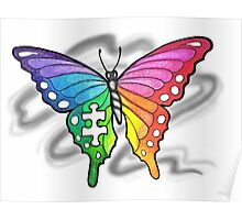 Rainbow Puzzle Butterfly ~ Autism Awareness Design Poster