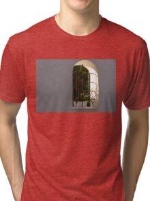 Peeking Through the Garden Fence Window - Geometric Bars and Shadows Tri-blend T-Shirt