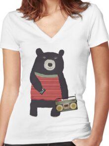 Boomer Bear Women's Fitted V-Neck T-Shirt
