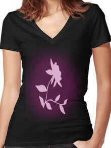 Flower silhouette in pink Women's Fitted V-Neck T-Shirt