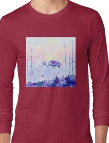 Stork Landscape In Alcohol Ink Art Long Sleeve T-Shirt