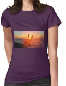 Sunset Peace Sign Womens Fitted T-Shirt