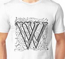 Beveled Alphabet Letter W Unisex T-Shirt