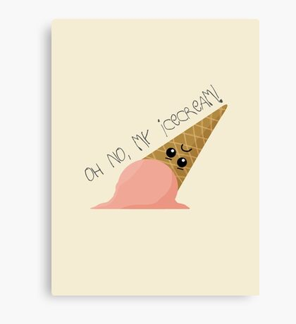 Oh no, my ice cream! Canvas Print