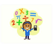Girl with pencil and calculator Art Print
