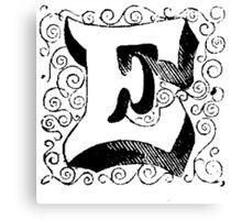 Block Alphabet Letter E Canvas Print