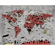world map animals Photographic Print