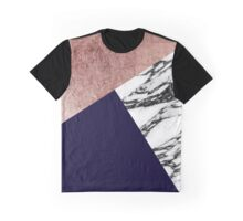 Modern Marble Rose Gold and Navy Blue Tricut Geo Graphic T-Shirt