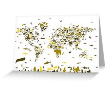 world map animals 2 Greeting Card
